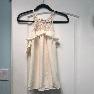 Rebecca Taylor cream lace & silk tank top sz 6